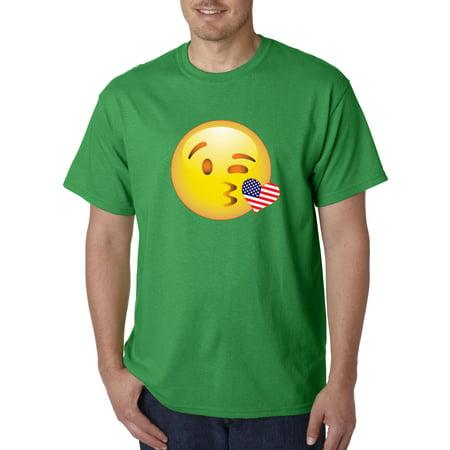 473 - Unisex T-Shirt Smiley Emoji Heart Kiss Usa Flag