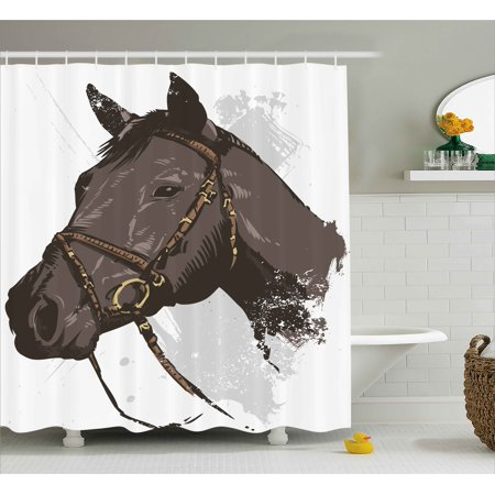 Equestrian Shower Curtain Wild Horse Portrait With Grunge Paintbrush Effects Graphic Art Design Fabric