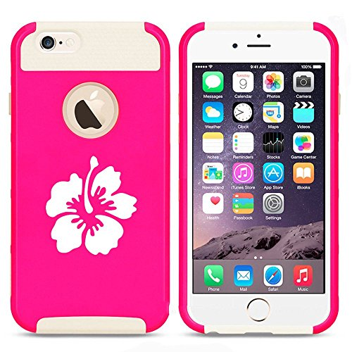 Apple iPhone 5 5s Shockproof Impact Hard Case Cover Hibiscus Flower (Hot Pink-White),MIP