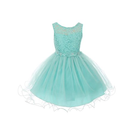 Little Girls Aqua Floral Decorated Stretch Lace Tulle Flower Girl Dress