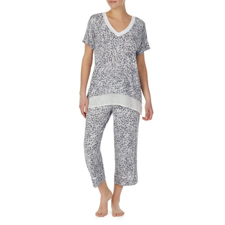 Secret Treasures Women's and Women's Plus Modern V-neck Capri PJ Top/Bottom Set