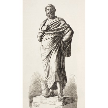 Sophocles Circa 496 Bc To 406 Bc Ancient Greek Dramatist After A Statue In The Lateran Museum Rome From El Mundo Ilustrado Published Barcelona 1880 PosterPrint Ancient Greece Museum