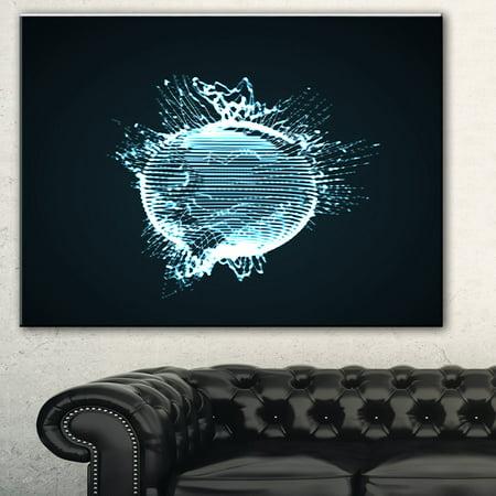 Glowing Sphere - DESIGN ART Designart 'Glowing Blue 3D Sphere' Abstract Digital Art Canvas Print