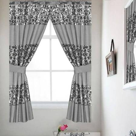 Sinatra Silver Bathroom Window Curtain Set W Tiebacks Popular Bath Collection