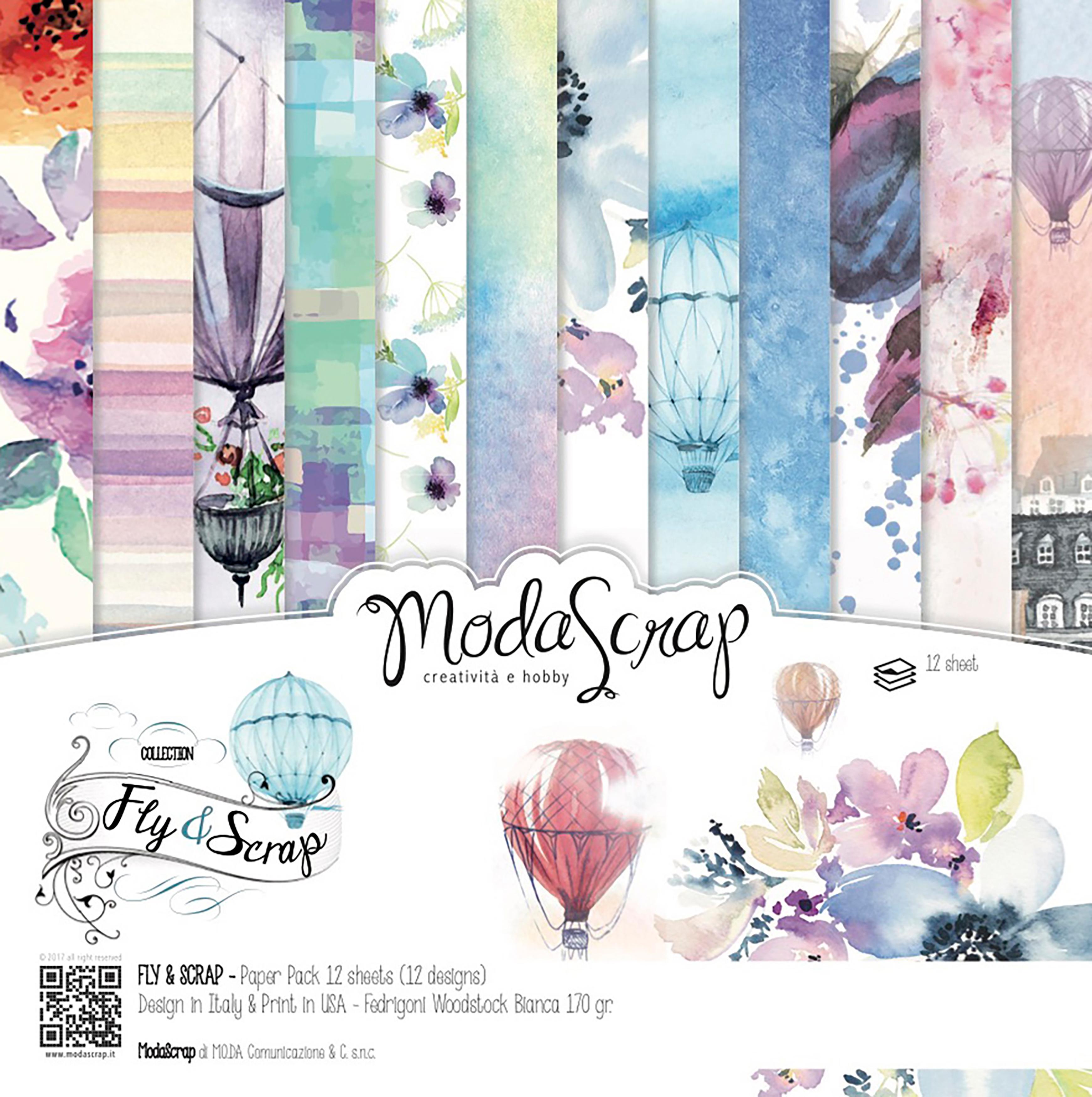 "Elizabeth Craft ModaScrap Paper Pack 12""X12"" 12/Pkg-Fly & Scrap"