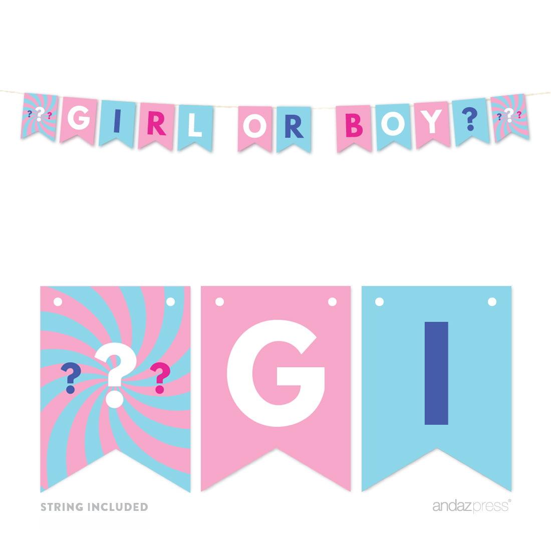 Gender Reveal Baby Shower Pink or Blue, Thank You! 24-Pack Favor Bag DIY Party Kit