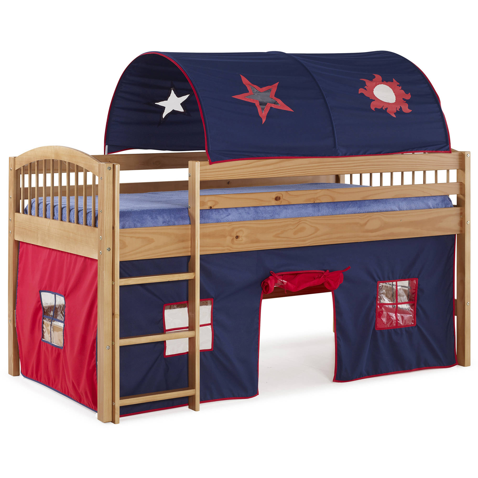 Addison Cinnamon Finish Junior Loft Bed, Blue Tent and Playhouse with Red Trim by Alaterre