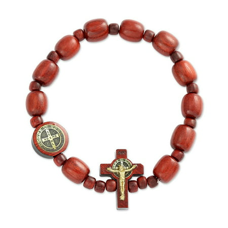 San Benito Cherry Wooden Beads Decade Rosary Stretch Bracelet, Made in Brazil, 2.5 Inch Color Wooden Rosary Wood