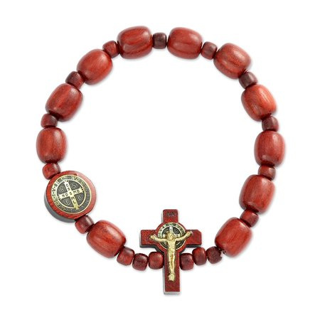 San Benito Cherry Wooden Beads Decade Rosary Stretch Bracelet, Made in Brazil, 2.5 Inch