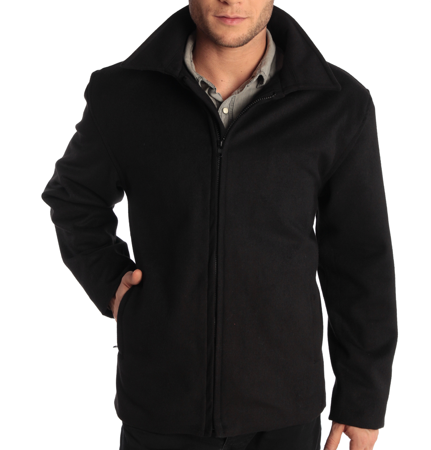 Grant Mens 28 Open Bottom Jacket Wool Blend JD Bomber Coat Zipered Black Small