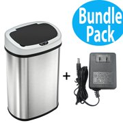 SensorCan Automatic Touchless Sensor Kitchen Trash Can with AC Adapter - Stainless Steel ? 13 Gallon / 49 Liter ? Oval Shape