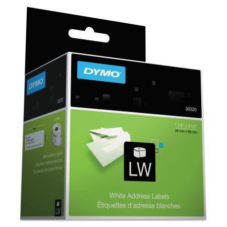 "DYMO LW Address Labels for LabelWriter Label Printers, White 1-1/8"" x 3-1/2"", 2 rolls of 260"