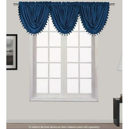 HOLLYWOOD 1-Piece NAVY BLUE    Waterfall Rod Pocket Window Valance with Decorative Trim 55