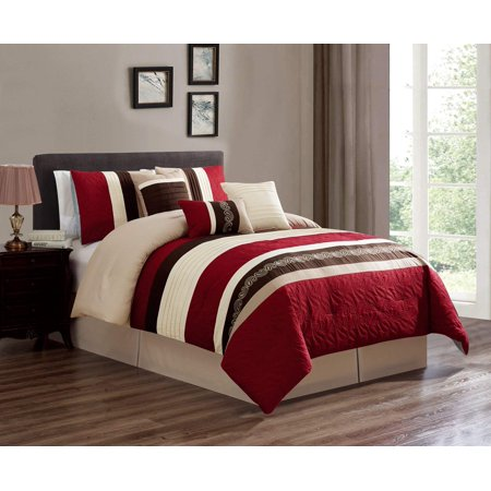 King Embroidery (7 Piece Oversized Luxury Embroidery Bed in Bag Microfiber Comforter Set (Burgundy, King) )
