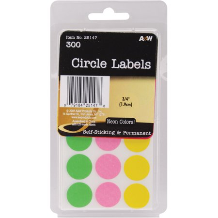 "Labels-Neon Circles .75"" 300/Pkg - image 1 of 1"