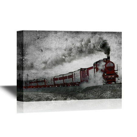 wall26 Canvas Wall Art - Vintage Black Steam Train - Gallery Wrap Modern Home Decor | Ready to Hang - 24x36 inches](Train Decor)