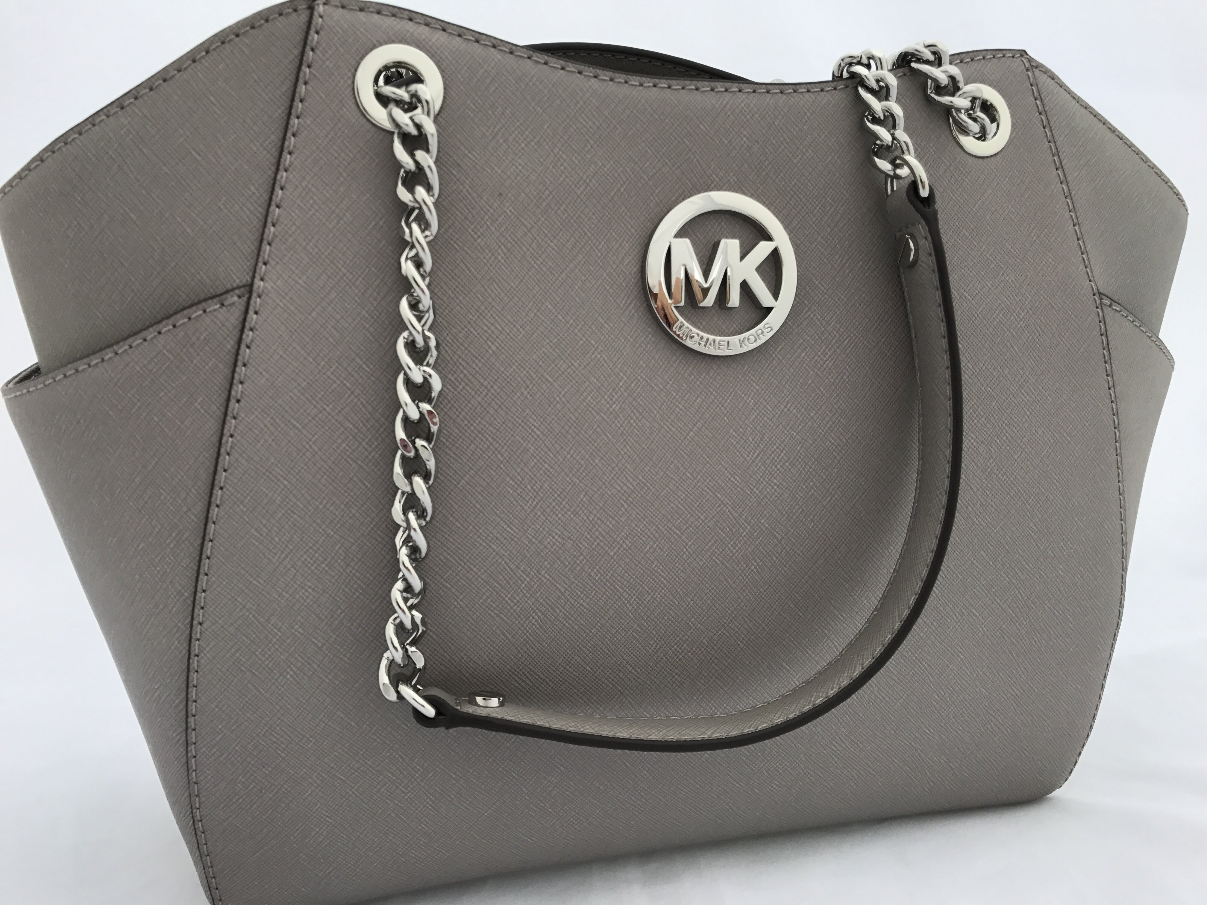 776aa24d59f1 Michael Kors - NWT Michael Kors Grey Saffiano Leather Jet Set Travel Chain  Shoulder Tote Bag - Walmart.com