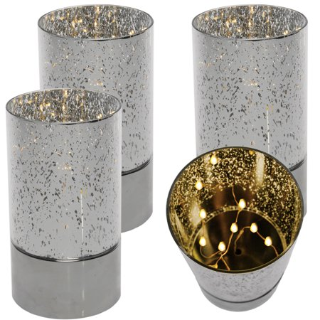 Home Trends (Set of 4) Copper Fairy String Light Mercury Glass Lamp Centerpieces Outdoor Patio
