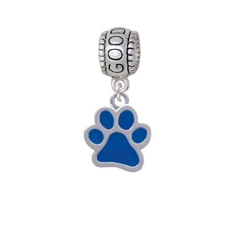 Medium Translucent Royal Blue Paw - Good Luck Charm Bead