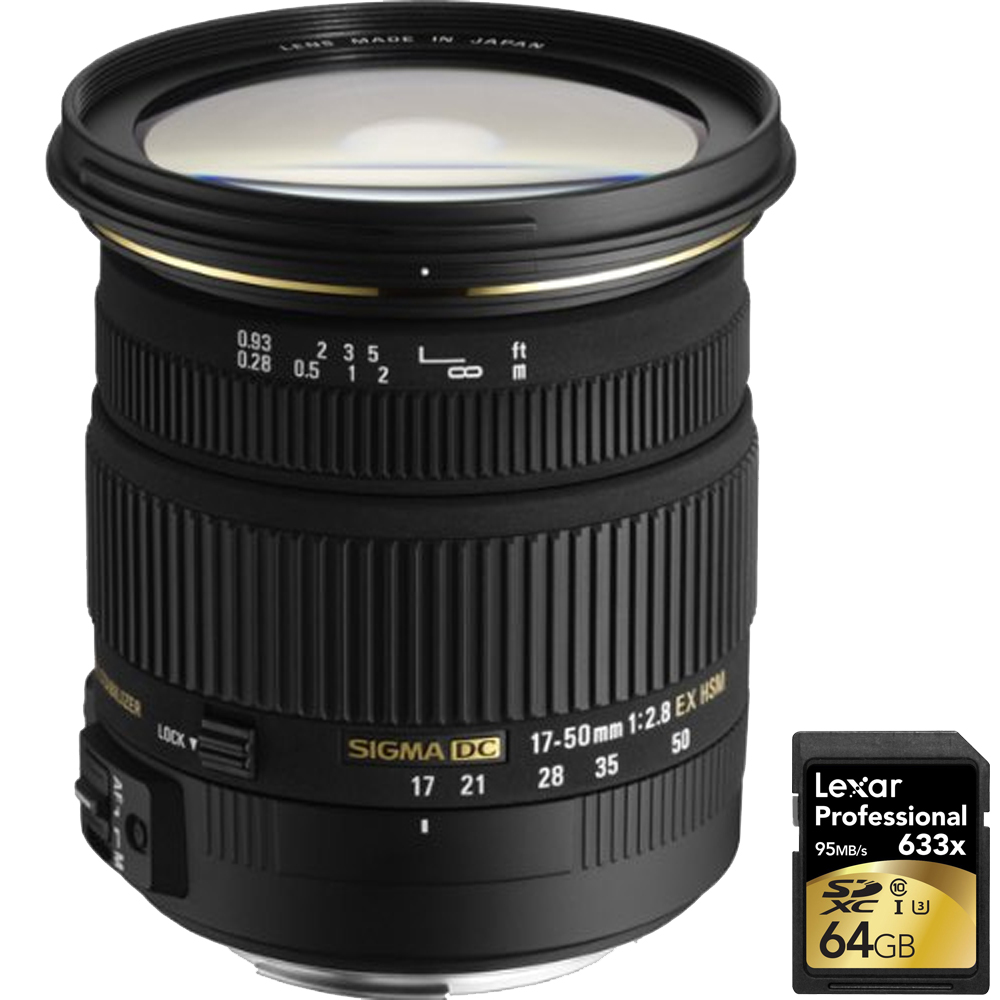 Sigma (583101) 17-50mm f 2.8 EX DC OS HSM FLD Standard Zoom Lens for Canon DSLR Camera with Lexar 64GB Professional 633x... by Sigma