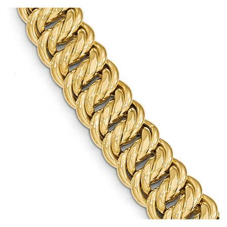 Solid 14k Yellow Gold Big Heavy Polished Fancy Link Bracelet 7.5