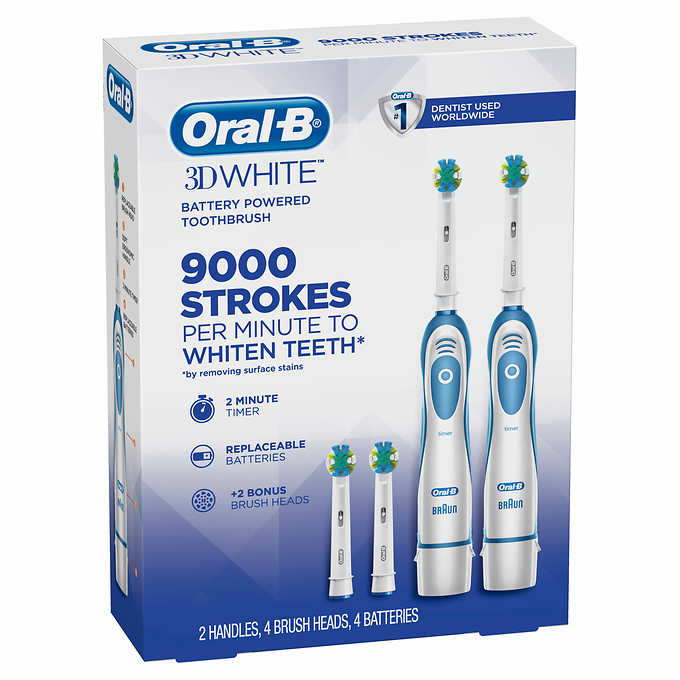 Oral-B 3D White Battery Powered Toothbrush, 2-count Plus 2 Refills