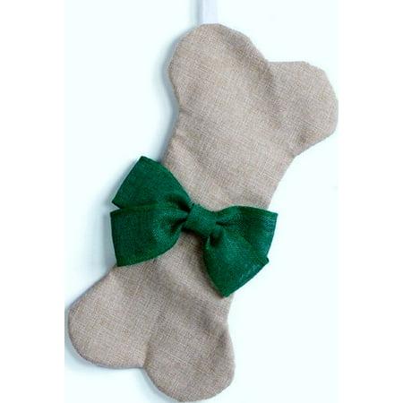 Large Dog Bone Christmas Stocking Green Bow