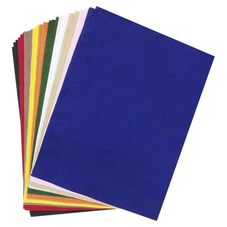 CPE Acrylic Felt Assortment, 9 x 12 Inches, Assorted Classic Colors, Pack of 25