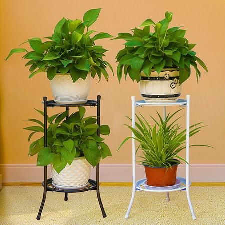 Indoor/Outdoor 2-Tier / 1-Tier Metal Flower Stand Shelf Holder Decorative Plant Stand Rack Pot w/Tray Design Garden & Home Black - Walmart.com