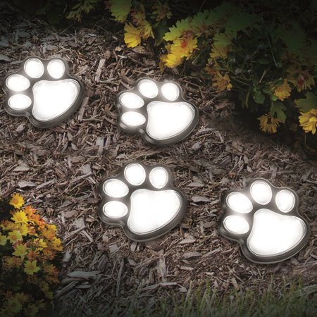 Ideawork's Set of 4 LED Pathway Paw Print Solar (Four Seasons Solar)