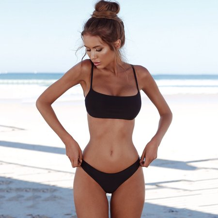 New Bikini Swimsuit (New Summer Women Solid Sexy Bikini Set Push-up Unpadded Bra Swimsuit Swimwear Triangle Bather Suit Swimming Suit)