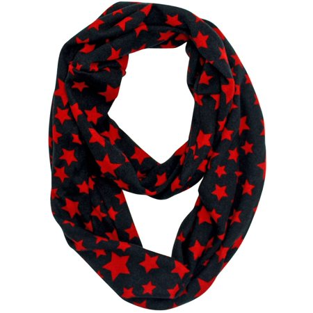 Red & Black Star Print Infinity Scarf ()