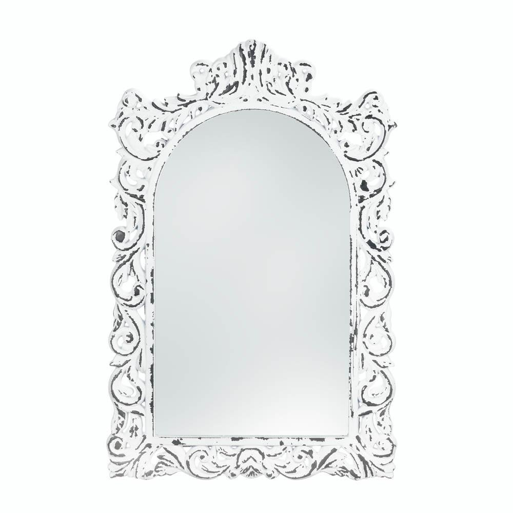 Bathroom Mirrors For Wall, Bedroom Wall Art Cool Etched White Ornate Wall Mirror