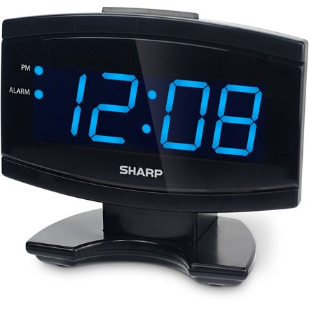 sharp blue led alarm clock black