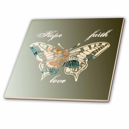 3dRose Hope, Faith and Love Gold Butterfly inspirational art - Ceramic Tile, 4-inch