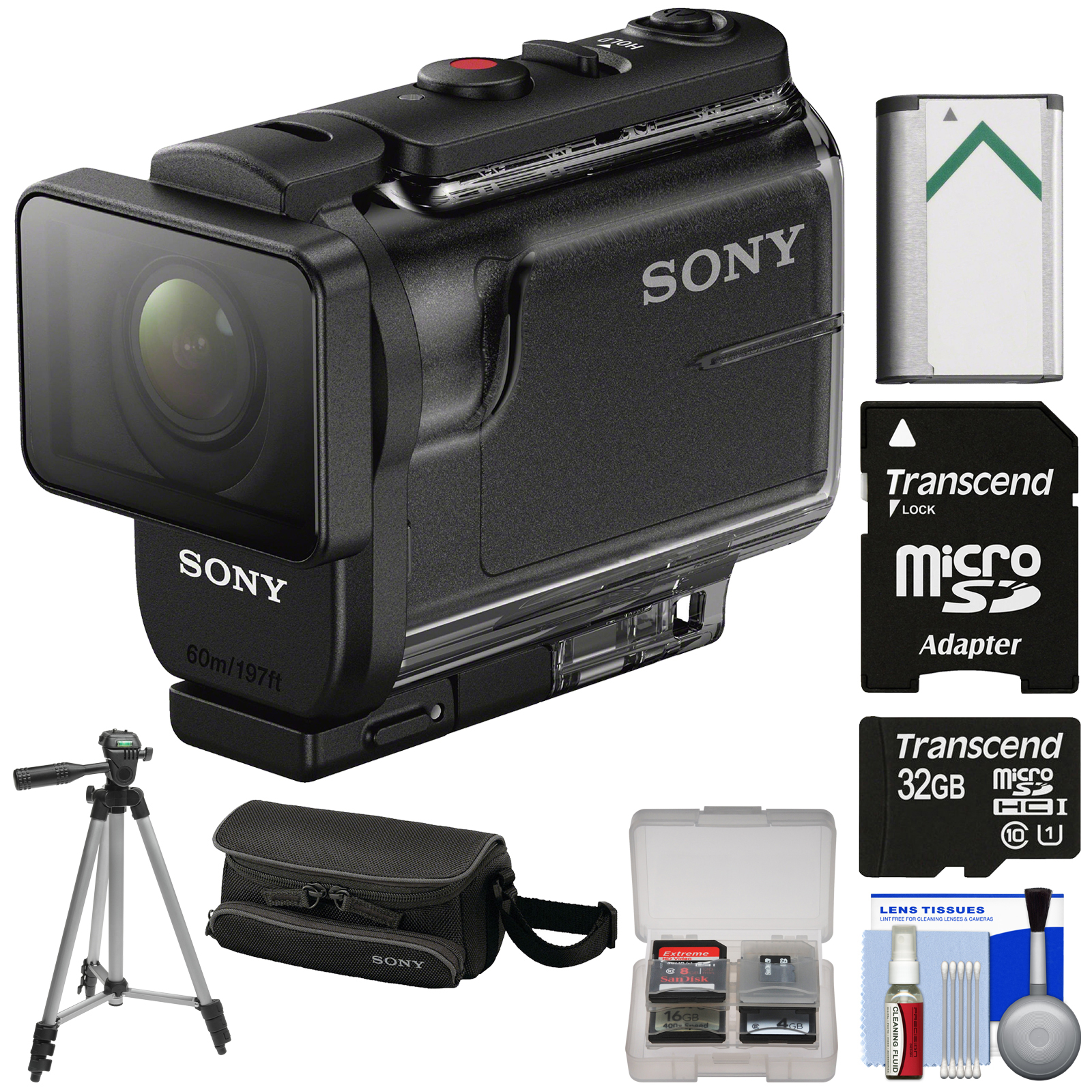 Sony Action Cam HDR-AS50 Wi-Fi HD Video Camera Camcorder with 32GB Card + Battery + Case + Tripod + Kit