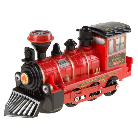 Toy Train Locomotive Engine Car With Battery Powered Lights  Sounds And Bump N Go Movement For Boys And Girls By Hey  Play  Red
