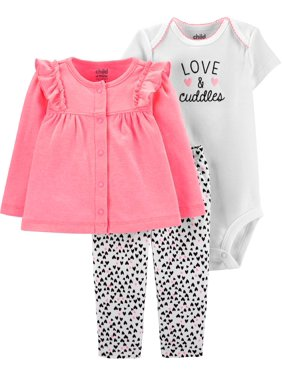 Child of Mine by Carter's Long Sleeve Cardigan, Short Sleeve Bodysuit & Pant, 3pc Outfit Set (Baby Girls)
