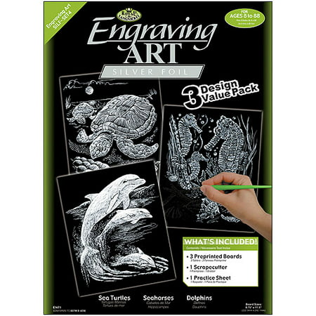 "Foil Engraving Art Kit Value Pack 8-3/4"" x 11-1/2"", Silver"