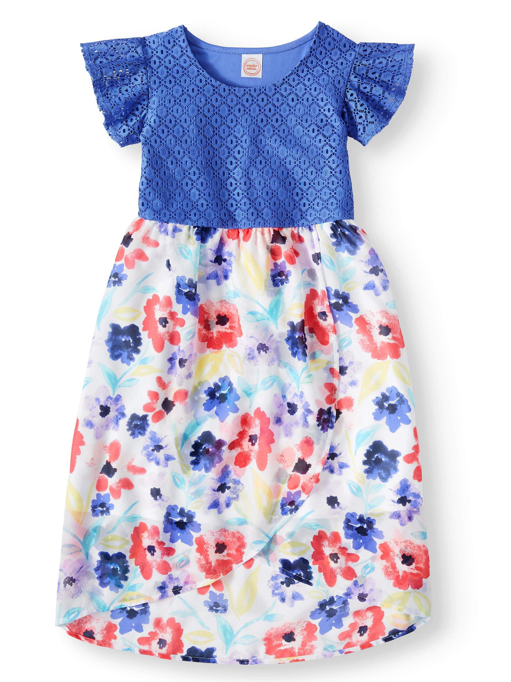 Lace and Chiffon Dress (Little Girls, Big Girls & Big Girls Plus)