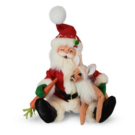 Annalee Dolls 2019 Christmas 9in Swirl Santa & Fawn Plush New with Tag