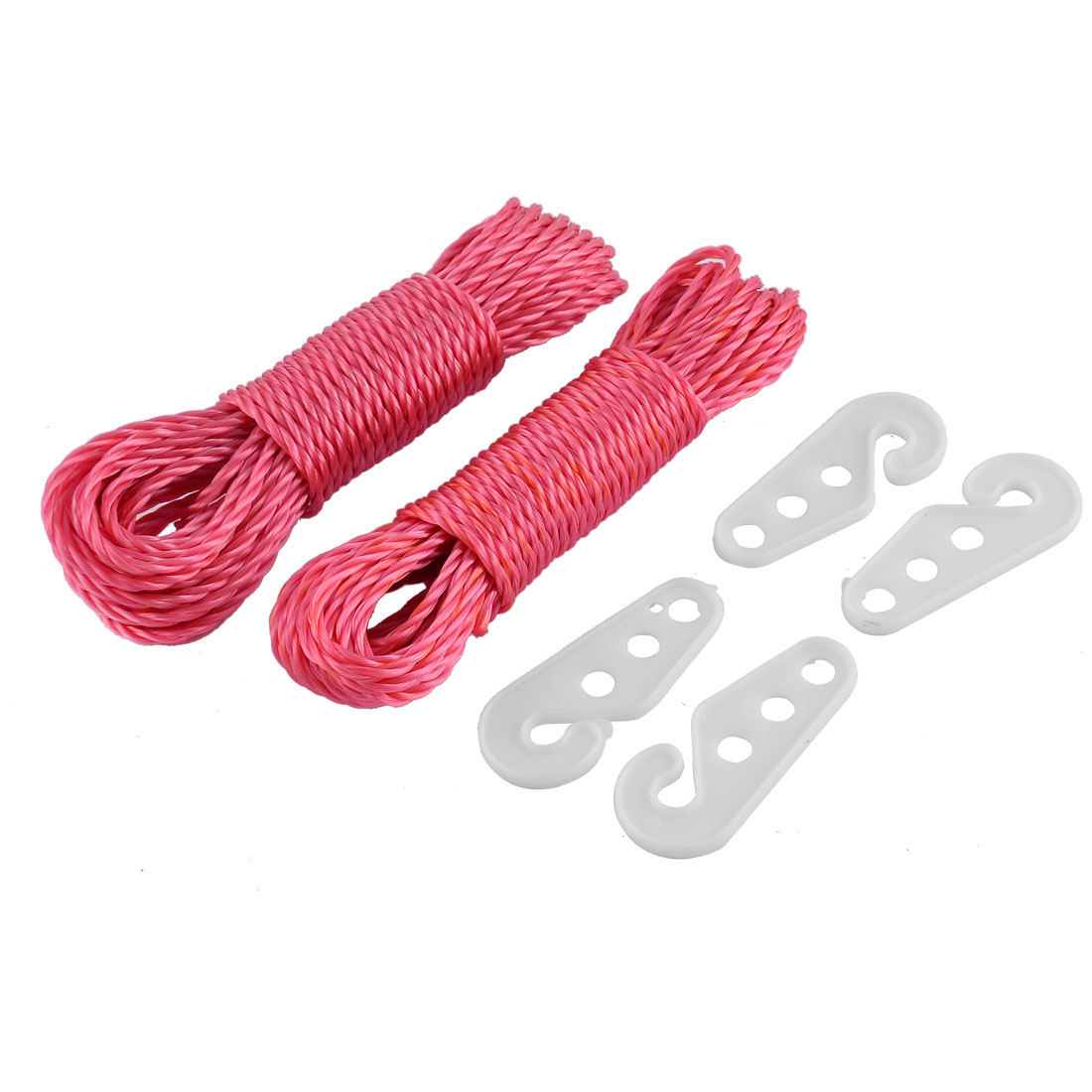Laundry Indoor Outdoor Clothesline Cloths Line Rope String 33Ft Fuchsia 2 Pcs