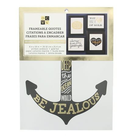 Gold Foil Sheets (American Crafts DCWV Gold Frameable Quotes Stack Prints - 40 Sheets 8