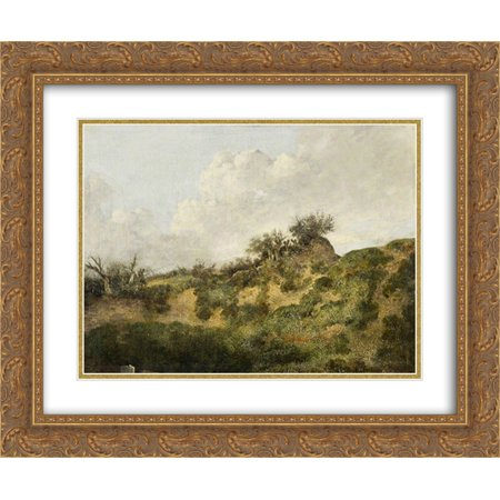 John Crome 2X Matted 24X20 Gold Ornate Framed Art Print A Sandy Bank