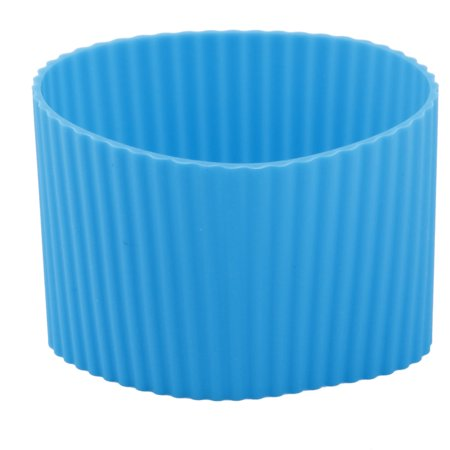 Silicone Heat Resistant Nonslip Glass Bottle Mug Cup Sleeve Protector Cover - Blue Glass Cups