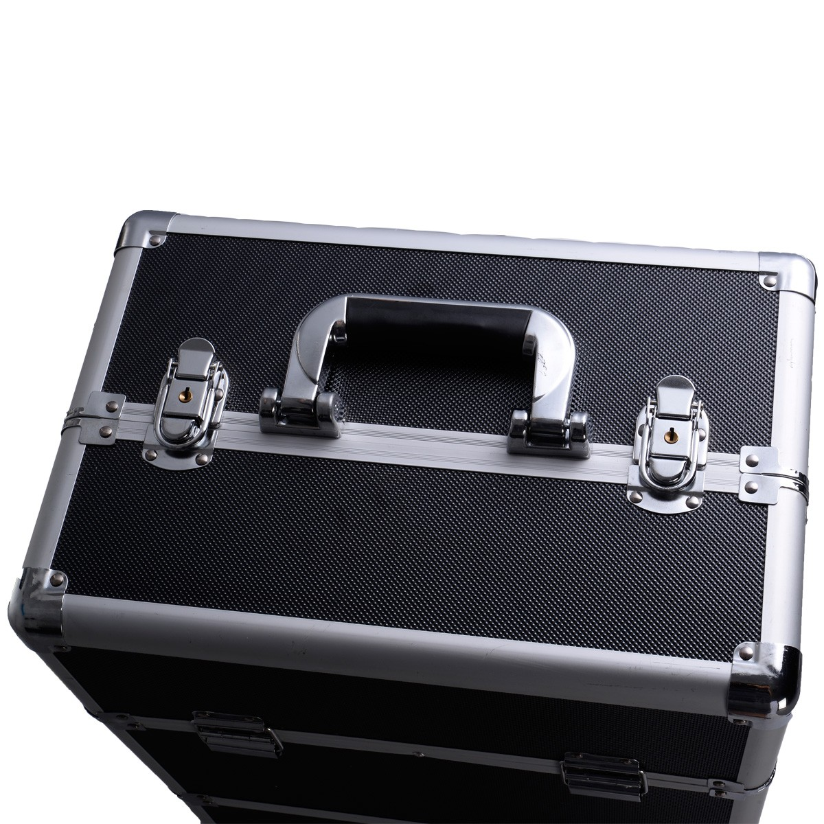 Pro 3 in1 Aluminum Rolling Makeup Cosmetic Train Case Wheeled Box 3 Black Grid