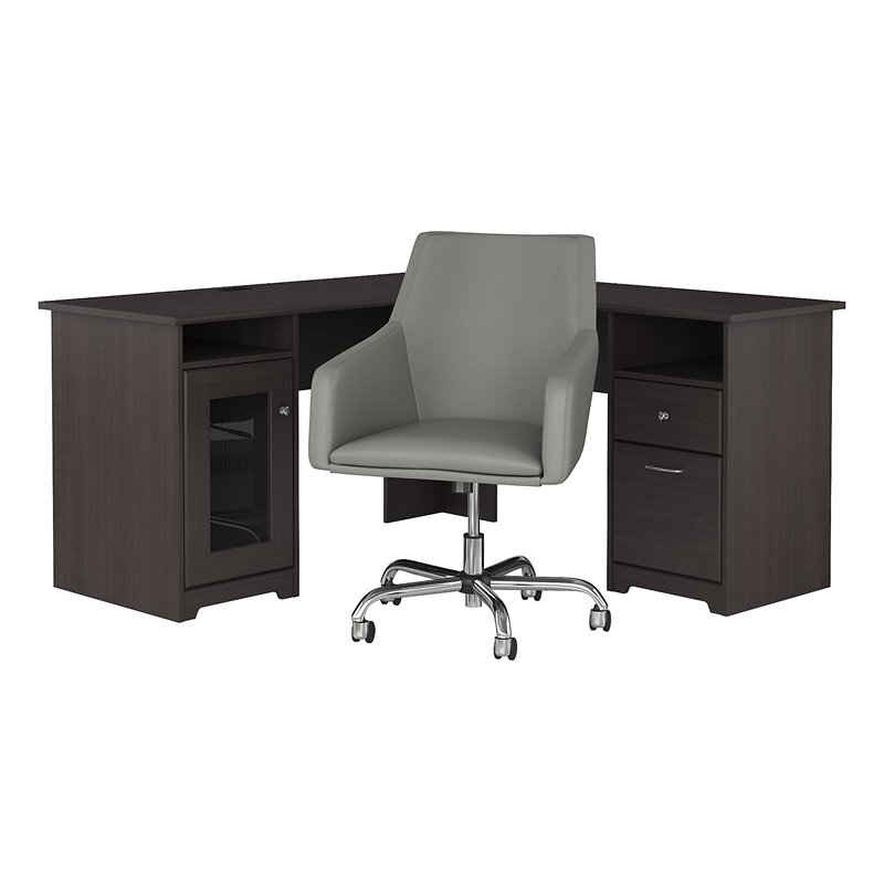Cabot 60W L Shaped Desk and Chair Set in Heather Gray ...