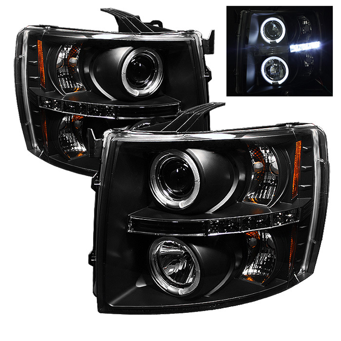 Spyder Chevy Silverado 1500 07-13 2500HD/3500HD 07-14 Projector Headlights - LED Halo - LED ( Replaceable LEDs ) - Black - High H1 (Included) - Low