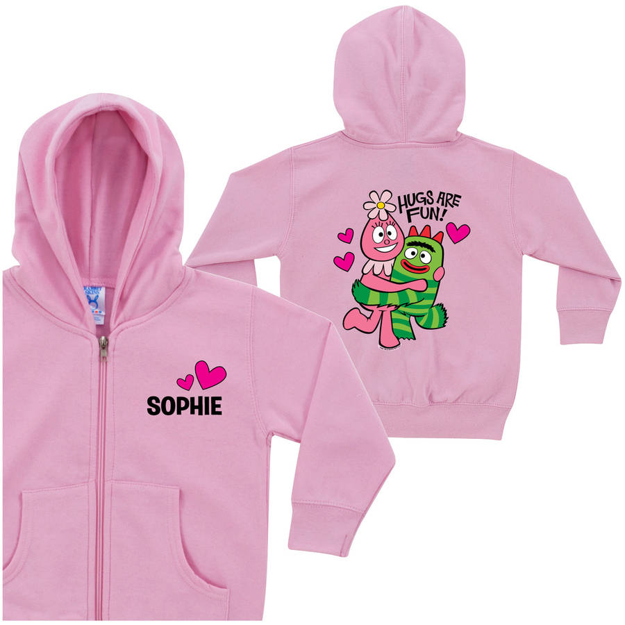 Personalized Yo Gabba Gabba Hugs Are Fun Toddler Girls' Pink Zip-Up Hoodie
