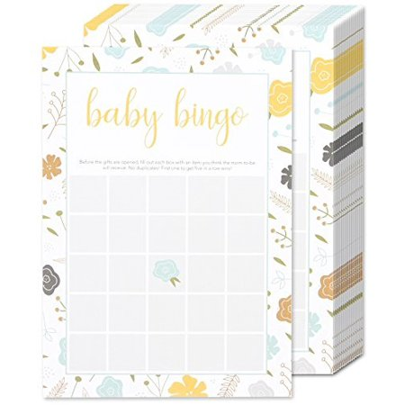 Baby Shower Bingo Party Game Kit for a Girl or Boy - Gender Neutral Baby Shower Games - 50 Game Sheets and Activities for Guests - Gender Neutral Colors